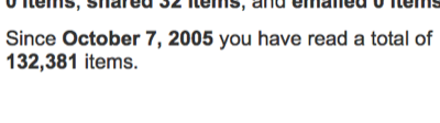 Since October 7, 2005 you have read a total of 132,381 items.