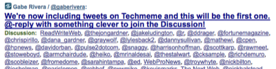 We're now including tweets on Techmeme and this will be the first one. @-reply with something clever to join the Discussion