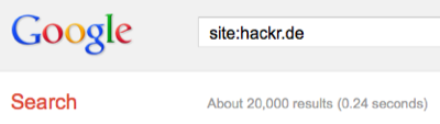 About 20,000 results for site:hackr.de