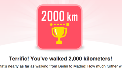 Terrific! You've walked 2,000 kilometers!