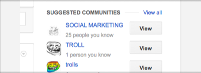 suggested communities: social marketing, troll, trolls