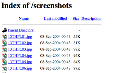 index of screenshots