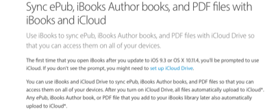 Use iBooks to sync ePub, iBooks Author books, and PDF files with iCloud Drive so that you can access them on all of your devices.